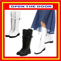 [OPEN THE DOOR]  belt lace up long boots ◆2色 /追跡付