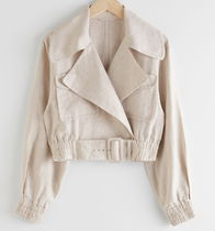 """& Other Stories"" Linen Biker Jacket Beige"