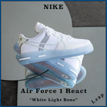 "【Nike】人気 完売必須 Air Force 1 React ""White Light Bone"""