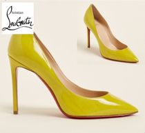 CHRISTIAN LOUBOUTIN☆Yellow Pigalle Pointed Toe Patent Pumps