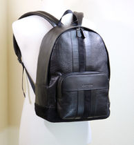 ブラック COACH HOUSTON BACKPACK WITH BASEBALL STITCH