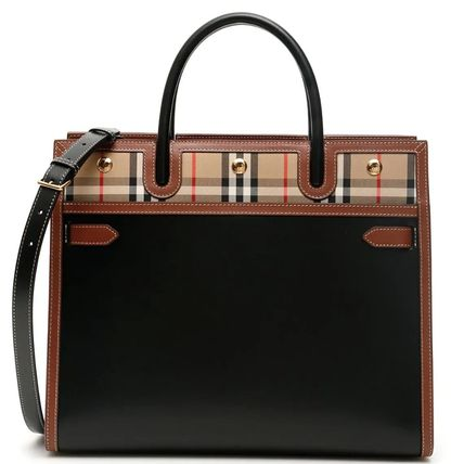 BB371 MEDIUM LEATHER AND VINTAGE CHECK TWO-HANDLE TITLE BAG