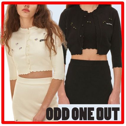ODD ONE OUT セットアップ 人気☆ODD ONE OUT☆Flower deco knit cardigan skirt set☆2色
