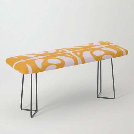 Society6 椅子・チェア 日本未入荷・送料無料 Abstract in Yellow and Cream Bench(2)