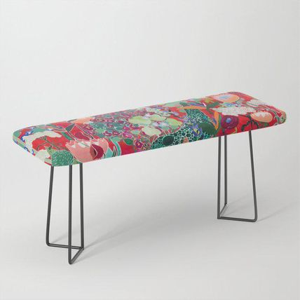 Society6 椅子・チェア 日本未入荷・送料無料 Red floral Jungle Garden Botanical feat
