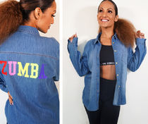 新作♪Zumbaズンバ Zumba Game On Button Up - Denim