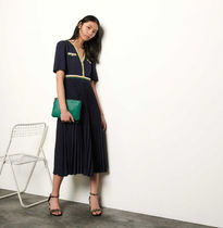 sandro サンドロLONG PLEATED DRESS WITH SHORT SLワンピース
