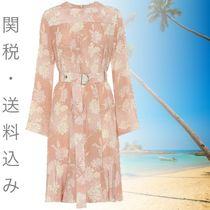 Floral silk-satin dress