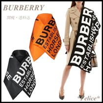 *BURBERRY*HORSEFERRY PRINTED SILK PADDED SCARF