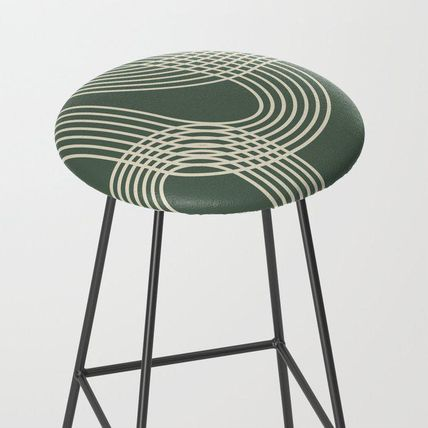 Society6 椅子・チェア 日本未入荷・送料無料 Minimalist Lines in Forest Green Bar St