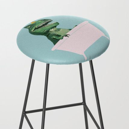 Society6 椅子・チェア 日本未入荷・送料無料 Playful T-Rex in Bathtub in Green Bar S