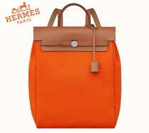 HERMES◆ Herbag a dos Zip retourne tilt Orange poppy◆