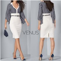 《VENUS》クールな*ストライプ*TWOFER COLLARED MIDI DRESS