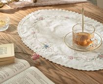 【DECO VIEW】Natural flower embroidery tea coaster