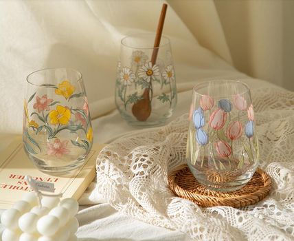 【DECO VIEW】Mellow Flower Convex Cafe Glass