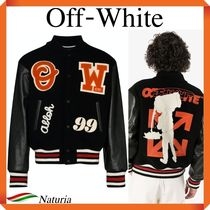 OFF WHITE Leather Varsity Jacket