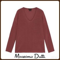 MassimoDutti♪PURL KNIT SWEATER WITH DECREASE STITCH DETAIL