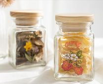 【DECO VIEW】Natural wood glass sealed seasoning container