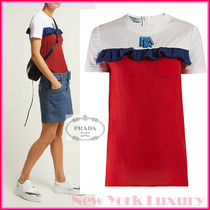 PRADA★素敵!Ruffle-trimmed cotton and silk-chiffon T-shirt