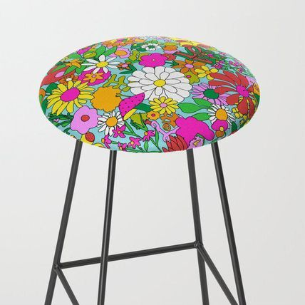 Society6 椅子・チェア 日本未入荷・送料無料 60's Groovy Garden in Blue Bar Stool