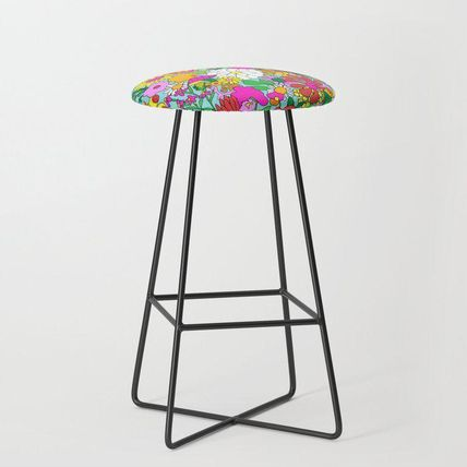 Society6 椅子・チェア 日本未入荷・送料無料 60's Groovy Garden in Blue Bar Stool(2)