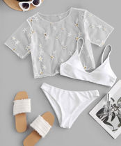 【関税.送料*込み】Sequined Star White Swim Wear