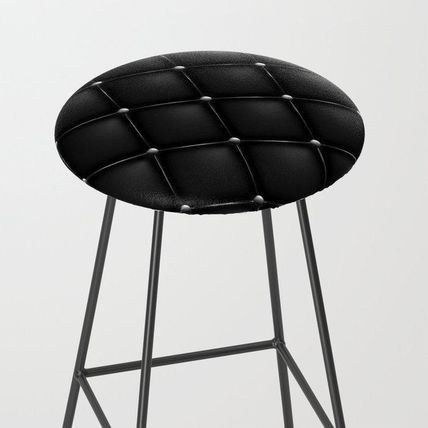 Society6 椅子・チェア 日本未入荷・送料無料 Black Quilted Leather Bar Stool