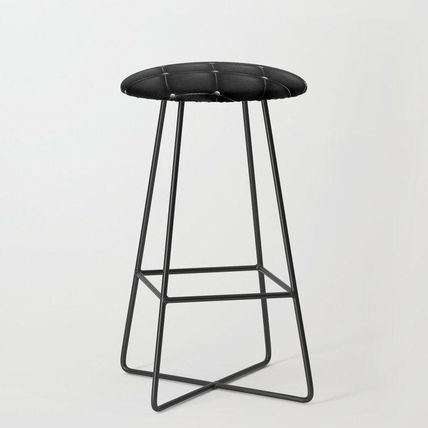 Society6 椅子・チェア 日本未入荷・送料無料 Black Quilted Leather Bar Stool(2)