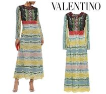 VALENTINO☆Paneled broderie anglaise,  guipure lace dress