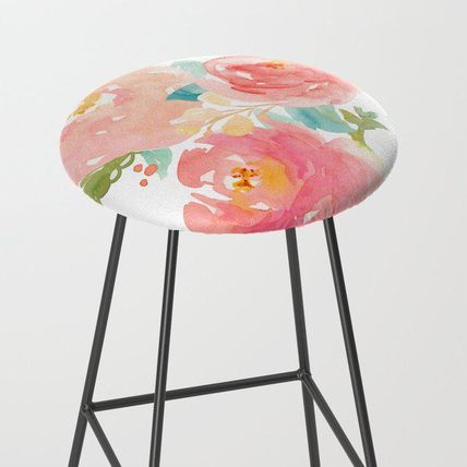 Society6 椅子・チェア 日本未入荷・送料無料 Watercolor Peonies Summer Bouquet Bar S
