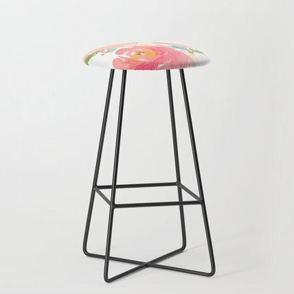 Society6 椅子・チェア 日本未入荷・送料無料 Watercolor Peonies Summer Bouquet Bar S(2)
