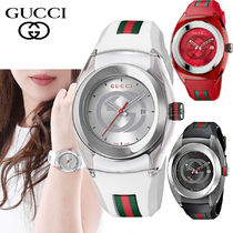 特別価格!GUCCI SYNC  46MM Swiss  Striped Rubber Strap 3色