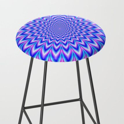 Society6 椅子・チェア 日本未入荷・送料無料 Psychedelic Pulse in Blue and Pink Bar