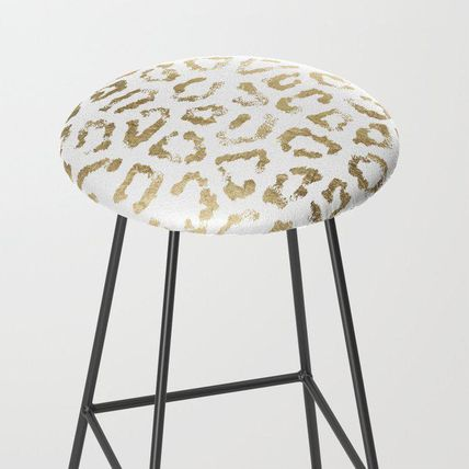 Society6 椅子・チェア 日本未入荷・送料無料 Modern white chic faux gold foil leopar