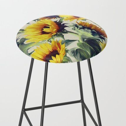 Society6 椅子・チェア 日本未入荷・送料無料 Sunflowers Forever Bar Stool