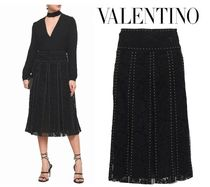 VALENTINO☆Layered studded cotton corded lace & tulle skirt