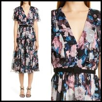 関税送料込 Erdem Floral Print Silk Chiffon Dress