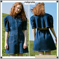 ROLAROLAの(OP-20311) BACK SLIT PUFF-SLEEVE DENIM ONE-PIECE