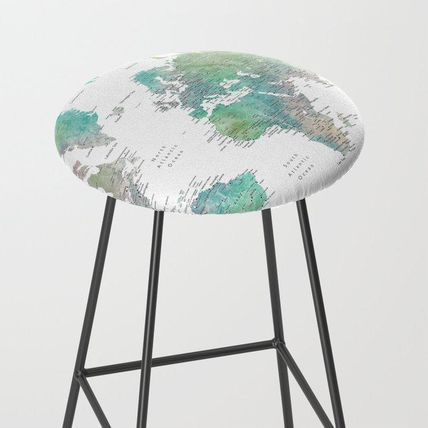 Society6 椅子・チェア 日本未入荷・送料無料 Watercolor world map in muted green and