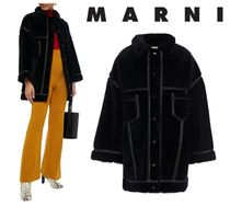 MARNI☆Oversized vegan leather-trimmed shearling coat