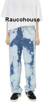 ●Raucohouse● BLEACH WIDE BLUE DENIM PANTS UNISEX