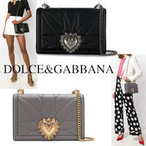 DOLCE&GABBANA LARGE DEVOTION BAG IN QUILTED MORDORE NAPPA