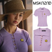 【MSKN2ND】RIBBED KNIT PIQUE SHIRT LILAC
