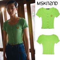 【MSKN2ND】BUTTON DETAIL RIBBED KNIT CROP TOP YELLOW GREEN
