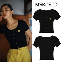 【MSKN2ND】BUTTON DETAIL RIBBED KNIT CROP TOP BLACK