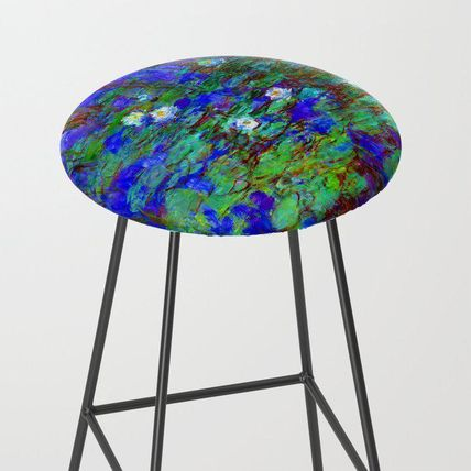 Society6 椅子・チェア 日本未入荷・送料無料 Claude Monet Blue Water Lilies Bar Stoo