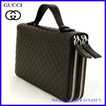 Gucci★素敵!Guccissima Dark Brown Leather Double Zip Wallet