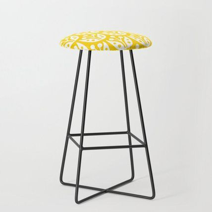 Society6 椅子・チェア 日本未入荷・送料無料 Mid Century Flower Pattern Yellow Bar S(2)