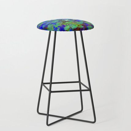 Society6 椅子・チェア 日本未入荷・送料無料 Claude Monet Blue Water Lilies Bar Stoo(2)