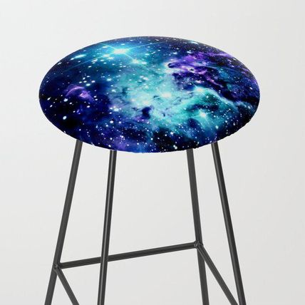 Society6 椅子・チェア 日本未入荷・送料無料 Fox Fur Nebula Turquoise Blue Purple Bl